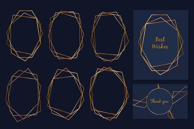 Coleção elegante moldura poligonal dourada