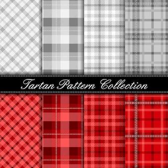 Coleção elegante padrão de tartan cinza e vermelho