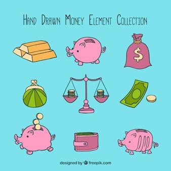 Coleção elemento dinheiro desenhada à mão