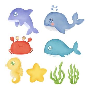 Coleção em aquarela de animais subaquáticos desenhados à mão