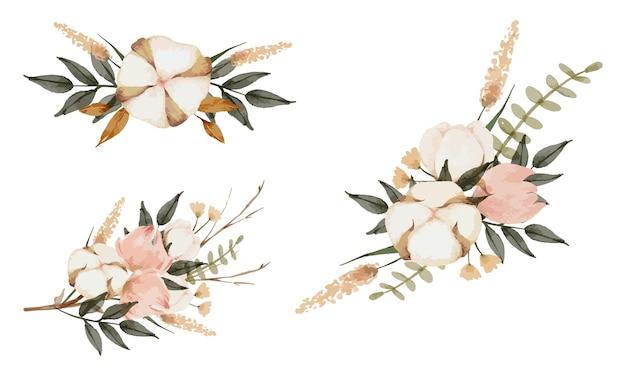 Coleção em aquarela de buquê de flores boho