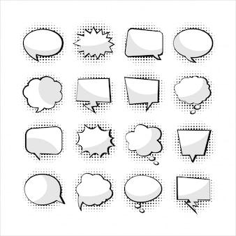Coleção em branco de balão de texto dos desenhos animados