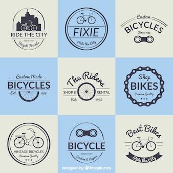 Coleção emblema bicicleta no projeto do vintage