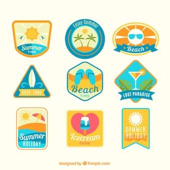 Coleção emblema bonito do verão plana