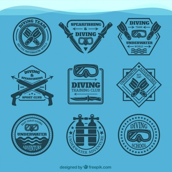 Coleção emblema elegante de mergulho