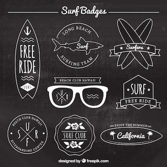 Coleção emblema elegante de surf