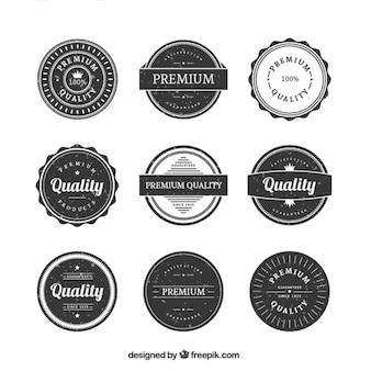 Coleção emblema vintage arredondada qualidade premium no estilo do grunge