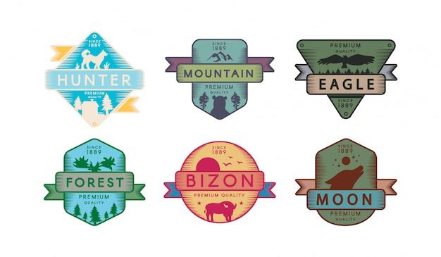 Coleção emblemas animais e natureza emblema conjunto