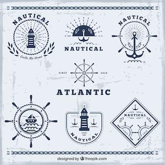 Coleção emblemas náutico azul