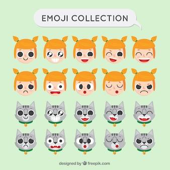 Coleção emoji da menina e do gato