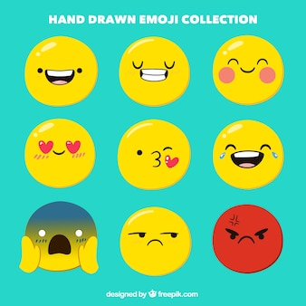 Coleção emoji desenhada à mão