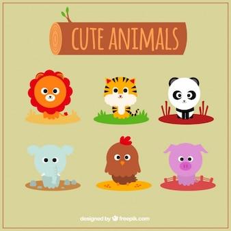 Coleção emoticon de nove animais bonitos