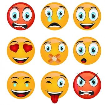 Coleção emoticons colorido