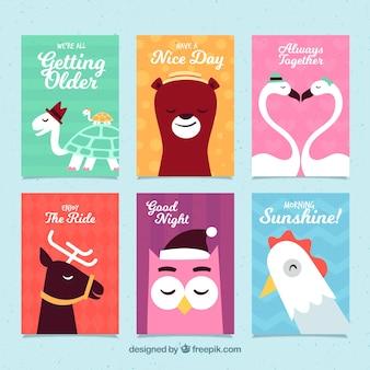 Coleção encantadora de cartões de animais
