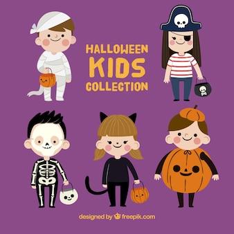 Coleção engraçada de crianças do dia das bruxas