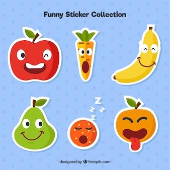 Coleção engraçada de etiquetas de frutas