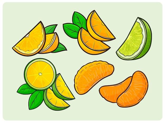 Coleção engraçada de laranja-limão em estilo simples