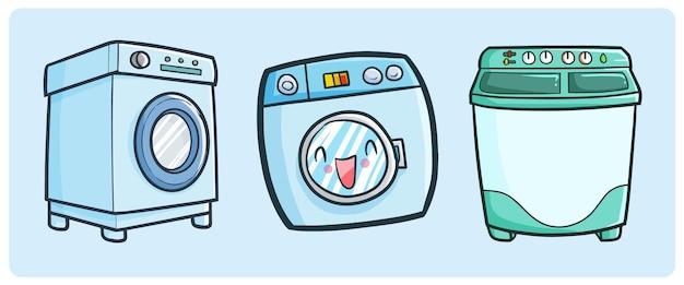 Coleção engraçada de máquina de lavar em estilo doodle simples