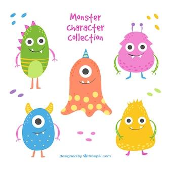 Coleção engraçada de monstros de cinco