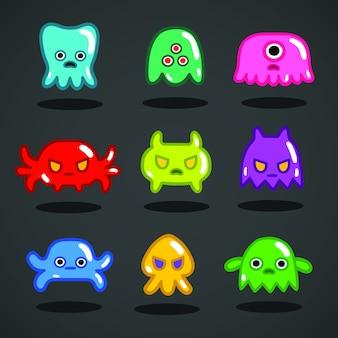 Coleção engraçada de monstros de jogos