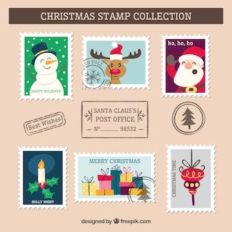 Coleção engraçada de selo de natal