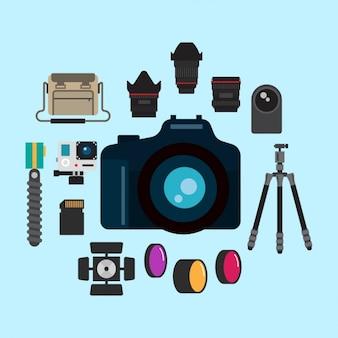 Coleção equipamento de fotografia