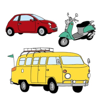 Coleção esboçado do transporte