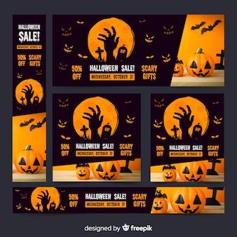 Coleção escura de banners de venda de web de halloween