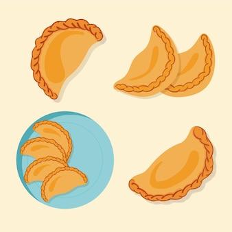 Coleção espanhola deliciosa do lanche da empanada