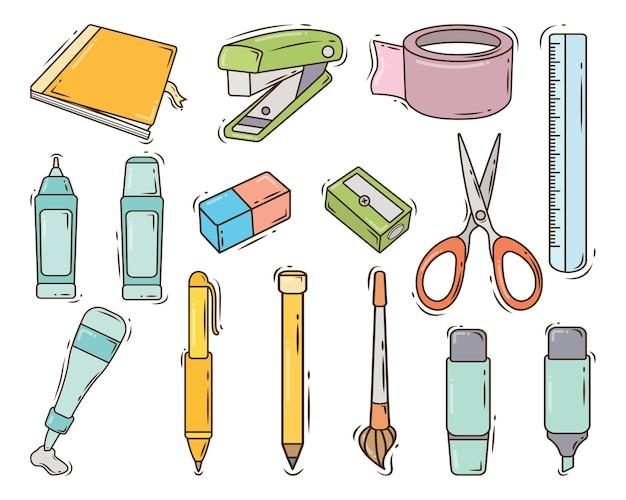 Coleção estacionária de doodle desenhado à mão