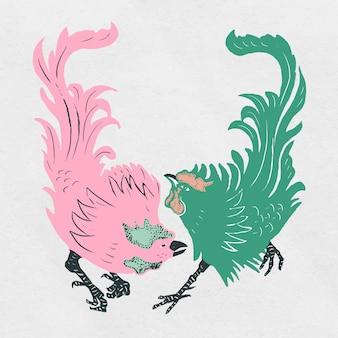 Coleção estilo linocut pássaro galos vintage