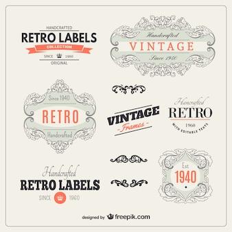 Coleção etiquetas retros