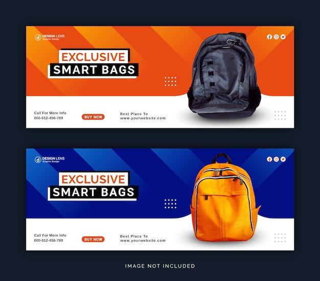 Coleção exclusiva de smart bags digitais para mídia social modelo de capa do facebook
