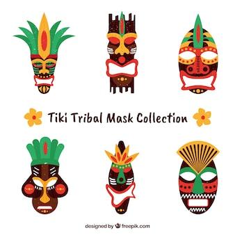 Coleção exótica de máscaras tiki tribais