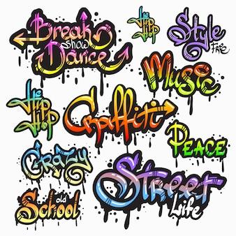 Coleção expressiva de graffiti urbano juventude arte palavras individuais digital criador de tinta spray grunge isolado ilustração vetorial