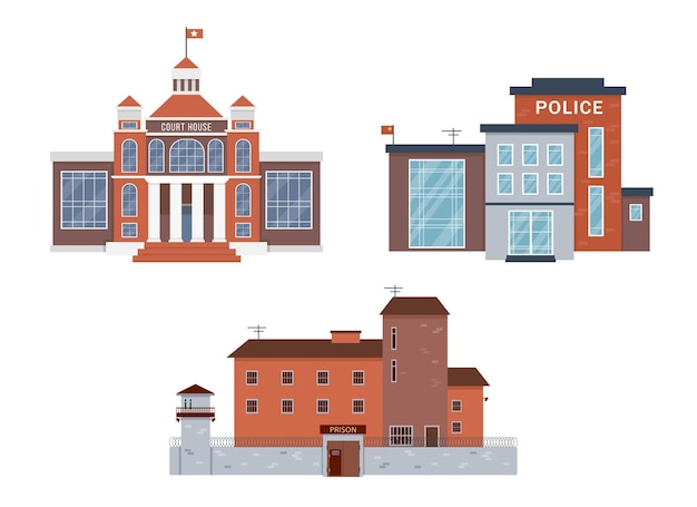 Coleção exterior de edifícios da cidade