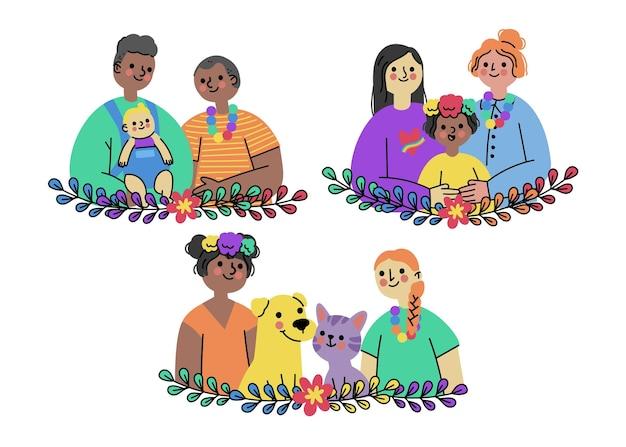 Coleção família do dia do orgulho plana orgânica
