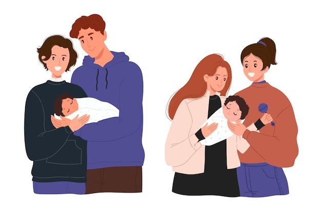 Coleção familiar do dia do orgulho desenhada à mão