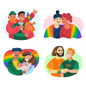 Coleção familiar do dia do orgulho dos desenhos animados
