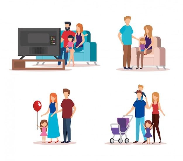 Coleção familiar fazendo atividades