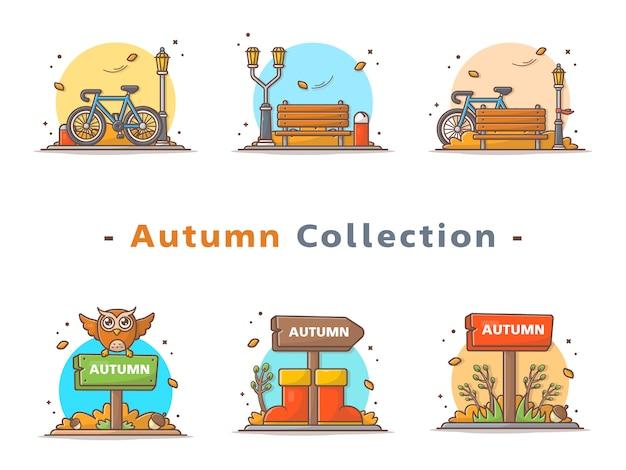 Coleção feliz cena de outono
