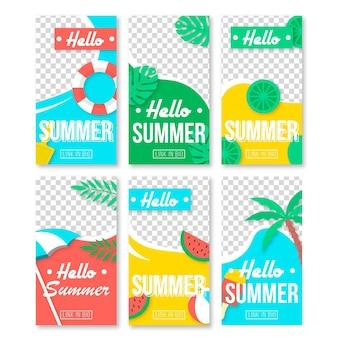 Coleção feliz da história do instagram do verão