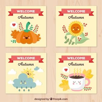Coleção feliz de cartões de outono