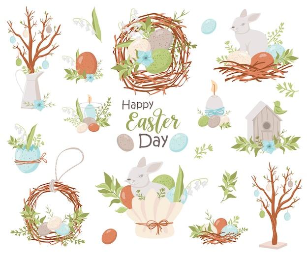 Coleção feliz páscoa. ilustração para cartões e convites de páscoa