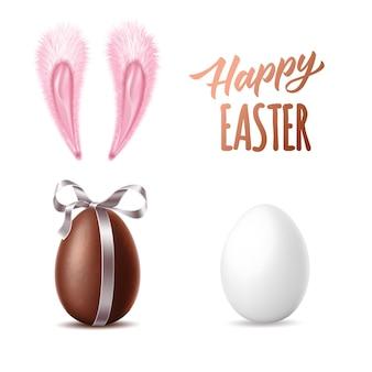 Coleção feliz páscoa ovo de chocolate realista com fita branca ovo de galinha orelhas de coelho rosa