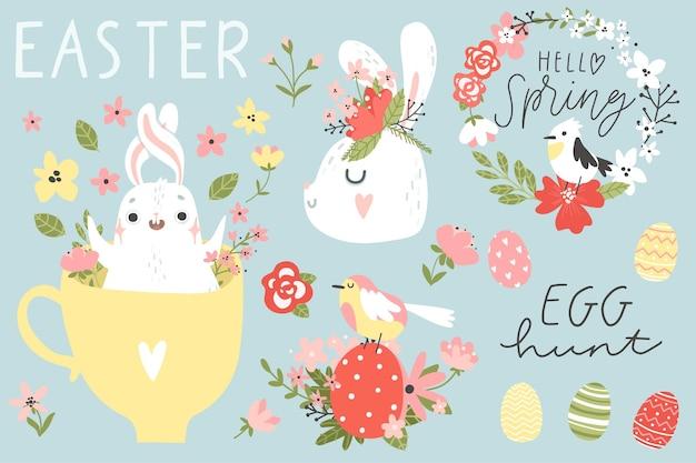 Coleção feliz páscoa ovos de coelhinho, pássaros, flores, elementos e letras