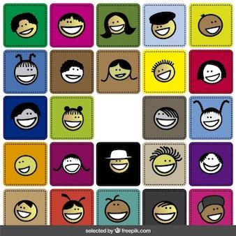 Coleção feliz rostos colorido