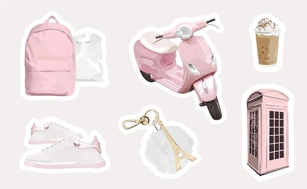 Coleção feminina de adesivos de viagem com scooter rosa