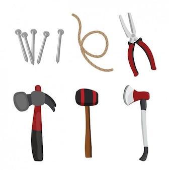 Coleção ferramentas colorido