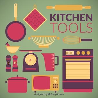 Coleção ferramentas da cozinha plana